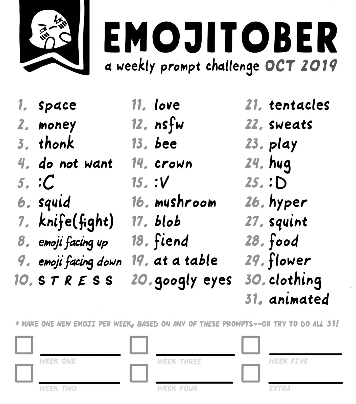 Emojitober 2019 Prompt List